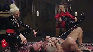 Male slave tied up and fucked by Maitresse Madeline Marlowe