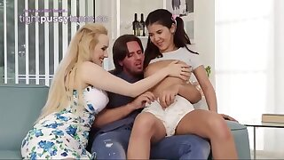 Ponytailed lady and her step- mother are having a kinky 3 way with a spectacular neighbor