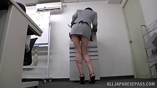 Japanese secretary Ryo Tsujimoto loves teasing with her ass