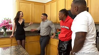 Kendra Cole enjoying an interracial trine with two big dicked men