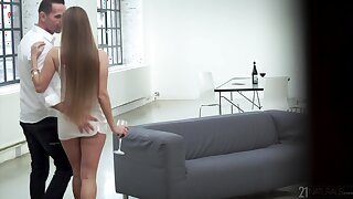 Hot young woman gets herself a matured lover with an increment of go wool-gathering girl loves to obtain fucked