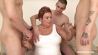 Wealthy old woman pays for gangbang with three young guys