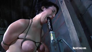 Unpaid cosset Niki Nymph gets her saggy tits tortured overwrought a perv