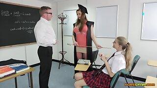 Energized hardcore sex near class with two schoolgirls