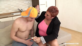 An old woman dominates her brat toy sexually and she loves being on top