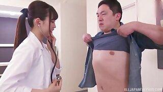 Japanese gangbang with natural tits nurse Mitani Akari who loves cum
