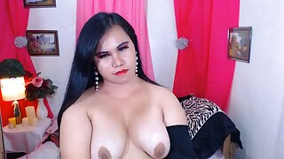 Chubby Shemale Dolcelicious Jerking Furiously
