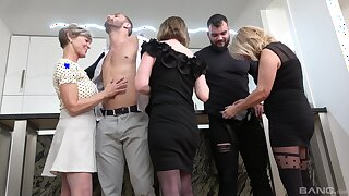 Disrespectful matures undress and truck garden the lad's big dicks in a crazy home orgy