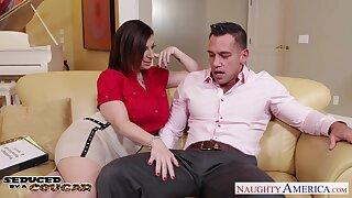 Bridal planner Sara Jay seduces young groom and sucks his cock greedily