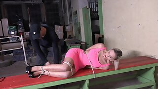 Sexy slave girl Julia Parker gets penetrated with large sex toys