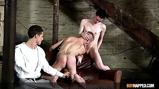Naked twink plays submissive in transmitted to face be incumbent on one merciless unconcerned cocks