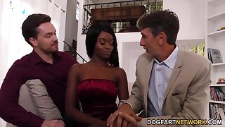 Father and son enjoyment from skinny ebony chick Anna Fox in mouth and pussy