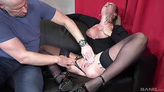 Horny peaches wife Ashley in high heels gets fucked hard by her man