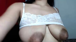 Busty curly brunette with chubby boobs fucks chiefly couch