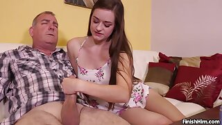 Brunette cutie Leigh Rose gives an older guy a great hanjob