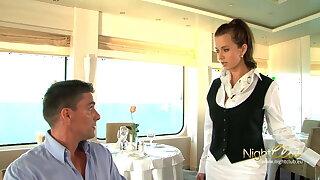 Lucky challenge got a threesome winning yachting trip ship restaurant, wow