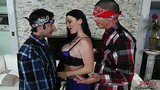 Two Mexican dudes team up hither fuck busty American chick Sophie Dee