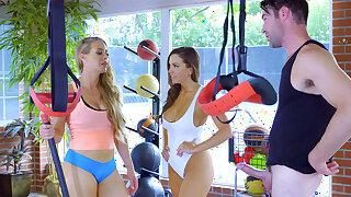 Sport teacher in threeway surrounding hotties