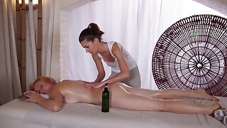 Masseuse shoves fingers into well done client's tight pussy