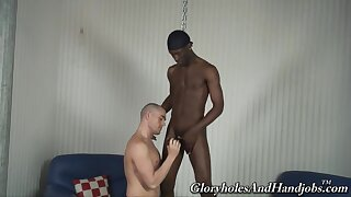 Black hunk gags and ass fucks obedient twink