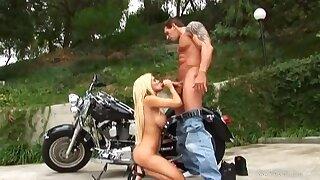 Hot busty biker girl Carmel Moore outdoor sex