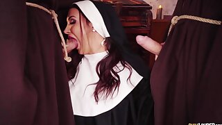Nun gets her hands on two big dicks for a merciless sin