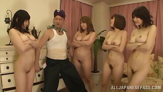 Lucky coxcomb slides his dick in four wet Japanese pussies. HD